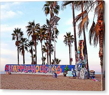Christmas In Venice Beach Canvas Print by Art Block Collections