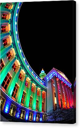 Christmas Lights Of Denver Civic Center Park Canvas Print by Kevin Munro