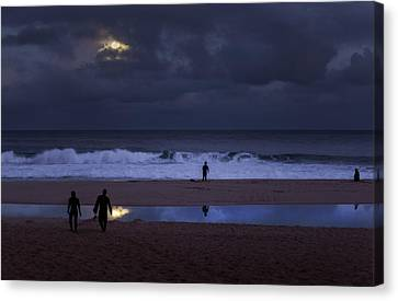 Christmas Moon Setting Over Pipeline Canvas Print by Sean Davey