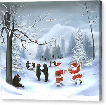 Christmas Party At Bear Hollow Canvas Print by RJ McNall
