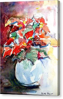 Christmas Poinsettia Canvas Print by Mindy Newman