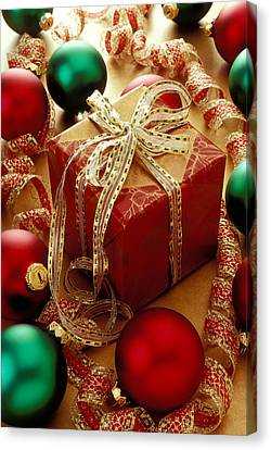 Christmas Present And Ornaments Canvas Print by Garry Gay