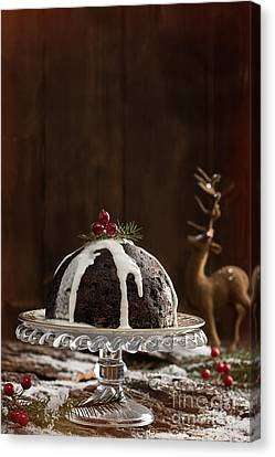 Christmas Pudding With Cream Canvas Print by Amanda And Christopher Elwell