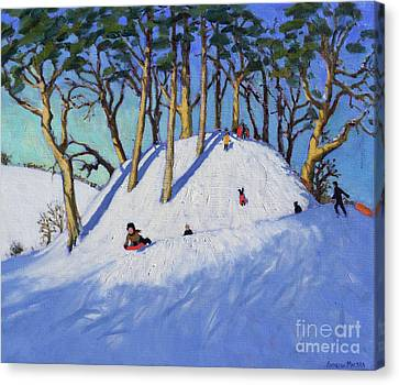 Christmas Sledging  Canvas Print by Andrew Macara