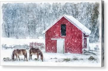 Christmas Snowstorm Vermont Watercolor Canvas Print by Edward Fielding