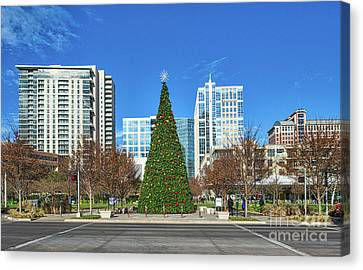 Christmas Tree In Dallas Park Canvas Print by Tod and Cynthia Grubbs