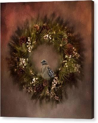 Christmas Wreath Canvas Print by Kim Hojnacki