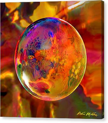 Chromatic Floral Sphere Canvas Print by Robin Moline