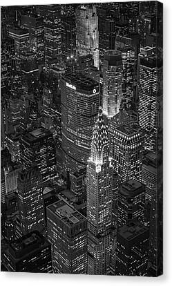 Chrysler Building Aerial View Bw Canvas Print by Susan Candelario