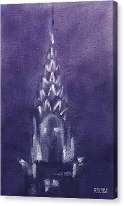 Chrysler Building Violet Night Sky Canvas Print by Beverly Brown Prints