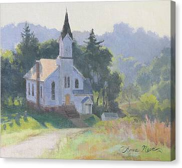 Church On A Hill Canvas Print by Anna Rose Bain