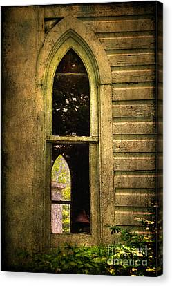 Church Window Church Bell Canvas Print by Lois Bryan
