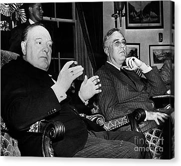 Churchill & Roosevelt Canvas Print by Granger