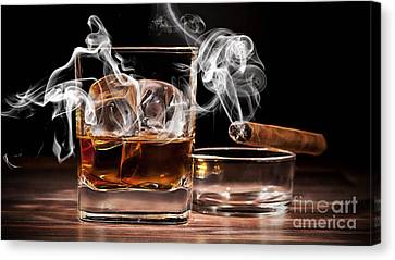Cigar And Alcohol Collection Canvas Print by Marvin Blaine