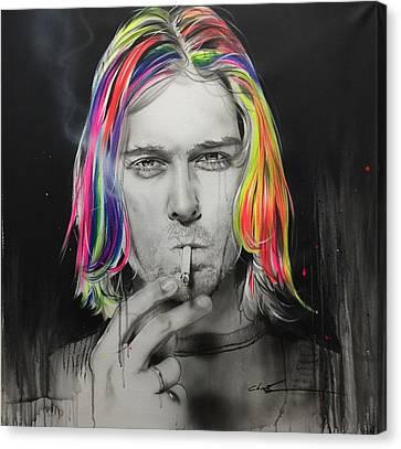 Kurt Cobain - 'cigarette Burns' Canvas Print by Christian Chapman Art