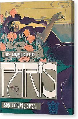 Cigarrillos Paris   Vintage Poster Canvas Print by Aleardo Villa