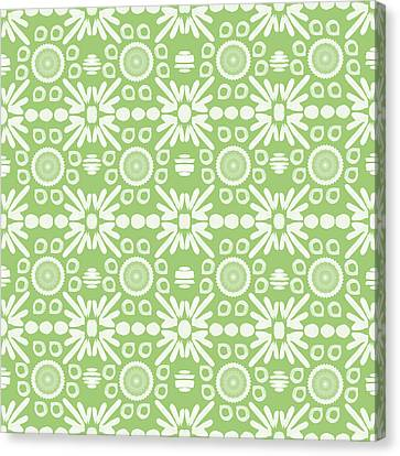 Cilantro- Green And White Art By Linda Woods Canvas Print by Linda Woods