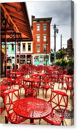 Cincinnati Red At Findlay Market Canvas Print by Mel Steinhauer
