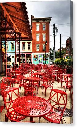 Cincinnati Red At Findlay Market Canvas Print by Mel Steinhauer