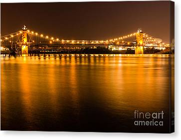 Cincinnati Roebling Bridge At Night Canvas Print by Paul Velgos