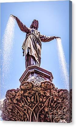 Cincinnati Tyler Davidson Fountain Genius Of Water  Canvas Print by Paul Velgos