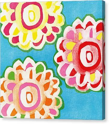 Fiesta Floral 1 Canvas Print by Linda Woods