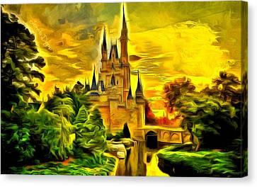 Cinderella Castle  - Van Gogh Style -  - Da Canvas Print by Leonardo Digenio