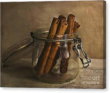 Cinnamon Sticks In A Glass Jar Canvas Print by Elena Nosyreva