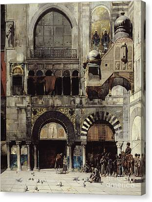 Circassian Cavalry Awaiting Their Commanding Officer At The Door Of A Byzantine Monument Canvas Print by Alberto Pasini