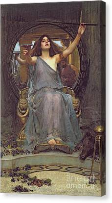 Circe Offering The Cup To Ulysses Canvas Print by John Williams Waterhouse