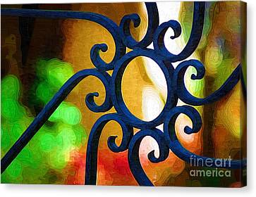 Circle Design On Iron Gate Canvas Print by Donna Bentley