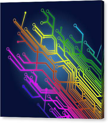 Circuit Board Canvas Print by Setsiri Silapasuwanchai