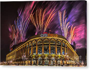Citifield Fireworks Canvas Print by Jerry Fornarotto