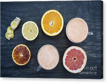Citrus Smoothies Canvas Print by Elena Elisseeva
