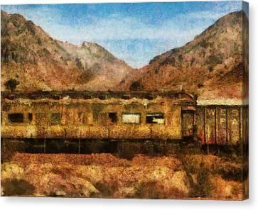 City - Arizona - Desert Train Canvas Print by Mike Savad