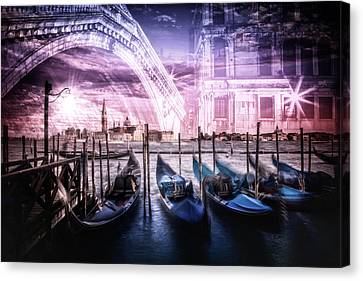 City Art Venice Gondola And Rialto Bridge Canvas Print by Melanie Viola