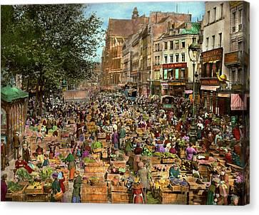 City - France - Les Halles De Paris 1920 Canvas Print by Mike Savad