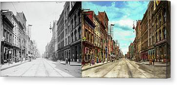 City - Knoxville Tn - Gay Street 1903 - Side By Side Canvas Print by Mike Savad