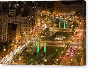 City Lit Up At Dusk, Atlantic Avenue Canvas Print by Panoramic Images