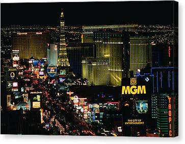 City Lit Up At Night, The Strip, Las Canvas Print by Panoramic Images