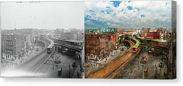 City - Ny - Chatham Square 1900 - Side By Side Canvas Print by Mike Savad