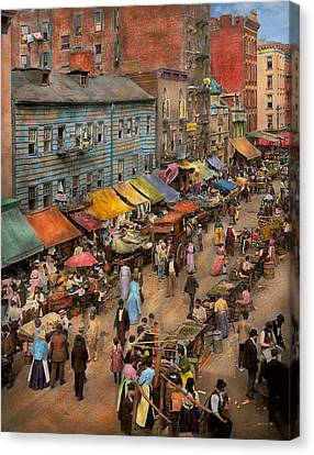City - Ny - Jewish Market On The East Side 1890 Canvas Print by Mike Savad
