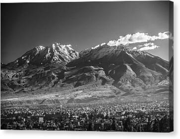 City Of Arequipa With Its Iconic Volcano Chachani, Peru Canvas Print by Jiri Vondrous