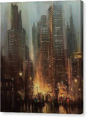 City Rain Canvas Print by Tom Shropshire