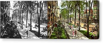 City - Saratoga Ny -  I Would Love To Be On Broadway 1915 - Side By Side Canvas Print by Mike Savad