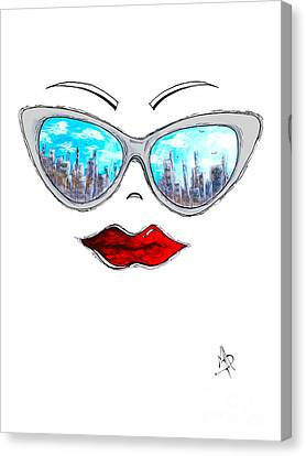 City Skyline Cat Eyes Reflection Sunglasses Aroon Melane 2015 Collection Collaboration With Madart Canvas Print by Megan Duncanson