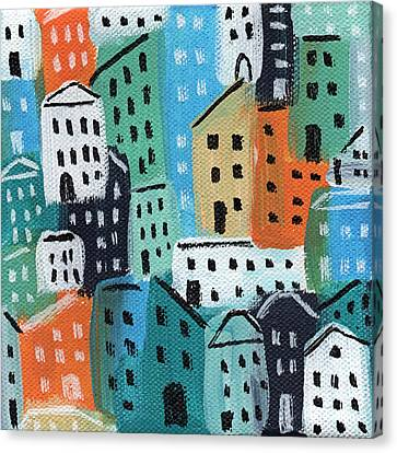 City Stories- Blue And Orange Canvas Print by Linda Woods