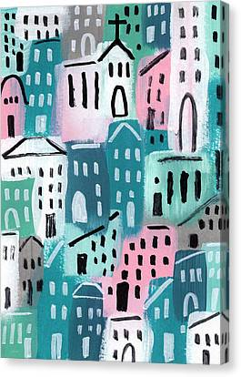 City Stories- Church On The Hill Canvas Print by Linda Woods
