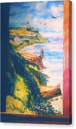 City Wall And Sentry Boxes  San Juan Puerto Rico Canvas Print by Estela Robles