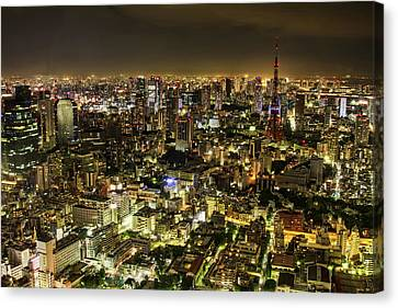 Cityscape At Night Canvas Print by Agustin Rafael C. Reyes